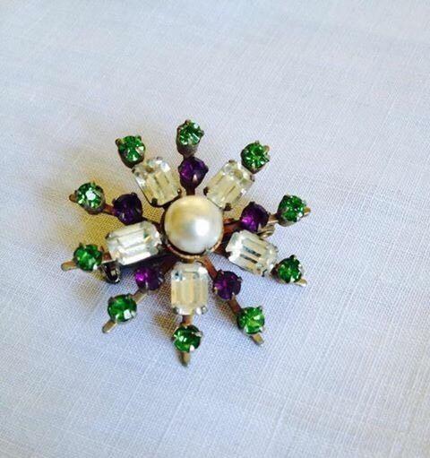 art deco Edwardian Vintage style suffragette colours diamante rhinestone brooch   £102.00 (25B)