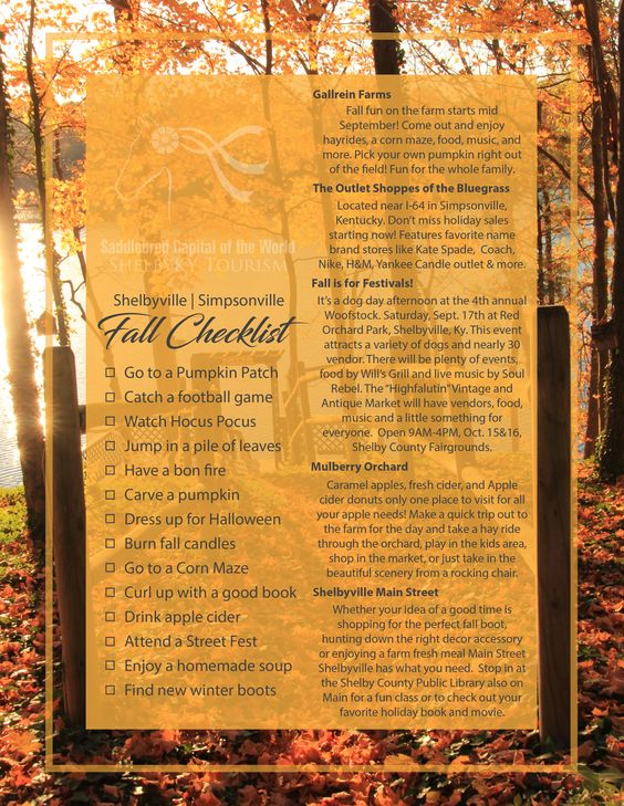 Wondering what to do this season? Take a look at the Shelby County Fall Checklist!
