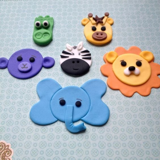 12 Jungle Animals handmade edible fondant por FancyTopCupcake