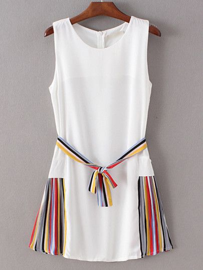 White Striped Side Tie Waist Sleeveless Dress