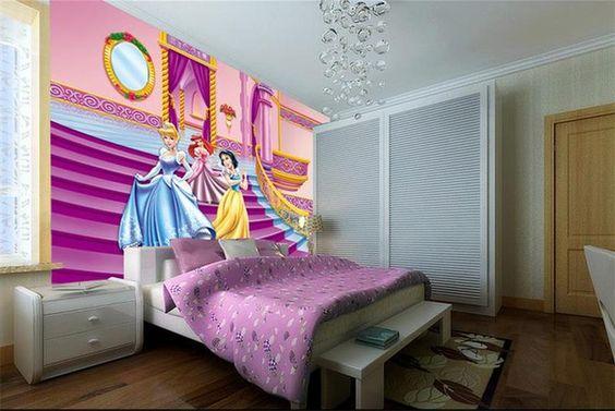 Cheap 3d Niños Habitación Wallpaper Murales Personalizados No Tejida Etiqueta de la Pared Pink disney…