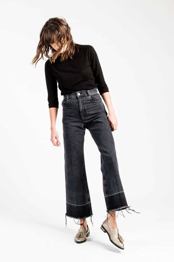 cropped boot cut jeans with raw hem and gold loafers via @citysage