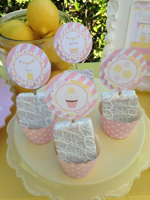 Adorable treats at a Lemonade Stand Spring Party!  See more party ideas at CatchMyParty.com!