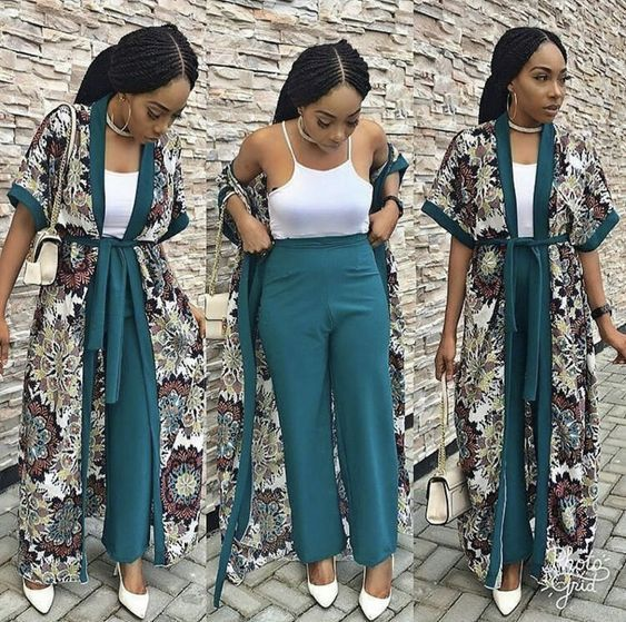 Temmie House Of Fashion: Lovely Chiffon Kimono And Pant Style For  Beautiful... | Latest african fashion dresses, Kimono fashion, African  fashion