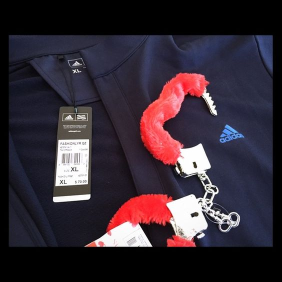 Hook Him Up on Valentines Day! Literally... - 1 Mens Navy with Blue Logo French Terry Lined Adidas Jackets, also Available in other colors and sizes. Tags on jacket show $70  The lock-down zipper and storm flap provide protection from the elements, the French terry fleeces ensures comfort and warmth in cool conditions.  - 1 Plush Red Fuzzy PLASTIC NOVELTY Handcuffs.  NOTE: these are novelty handcuffs meant to be a symbolic gift, not fully functional. They do open close etc, but are not meant…