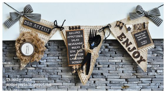 Burlap and Canvas pennant banner.