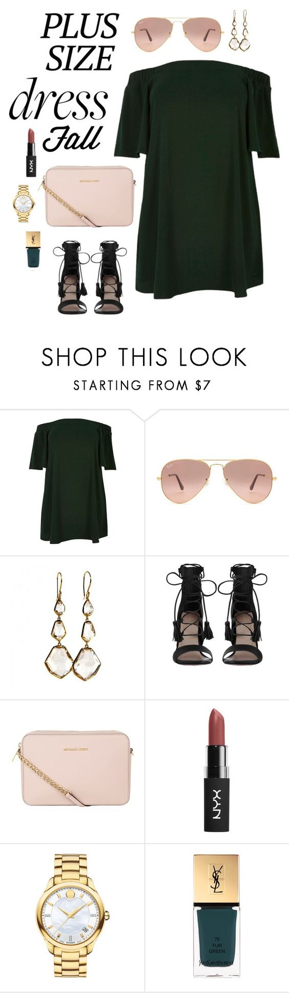 """pinkgreen #plussizedress"" by prettyrize ❤ liked on Polyvore featuring River Island, Ray-Ban, Ippolita, Zimmermann, MICHAEL Michael Kors, Movado, Yves Saint Laurent and plussizedress"