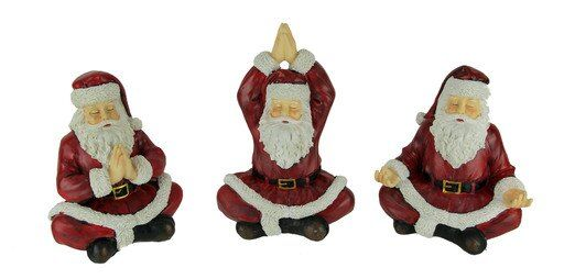 Sitting Yoga Santa Claus Figurines Christmas Decor Set Of 3 Christmas Decorations Bowser Santa Claus