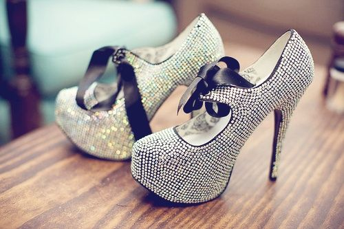 Sparkly Silver and Black Heels