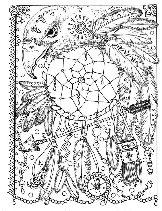 Coloring Pages Prairie Animals : Animal spirit dreamcatchers coloring fun for all ages