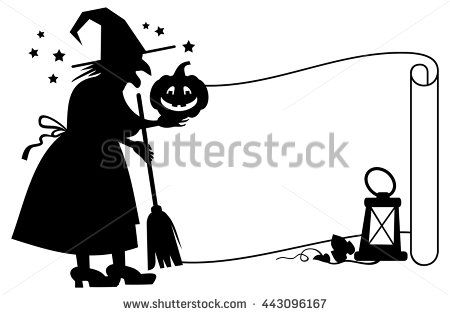 stock-vector-outline-paper-scroll-and-silhouette-of-a-witch-with-halloween-pumpkin-vector-clip-art-443096167.jpg (450×315)