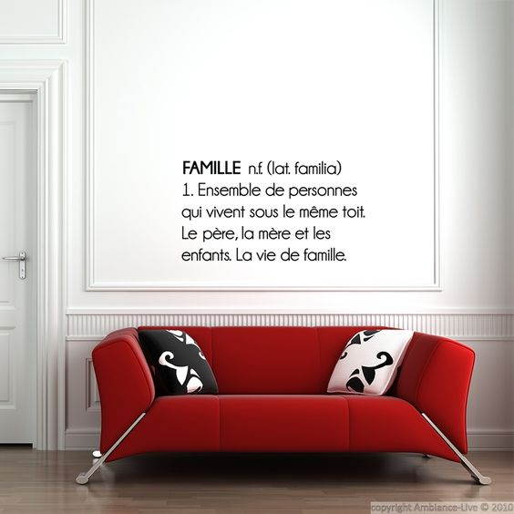 Stickers muraux citations - Sticker Famille n.f ... | Ambiance-live.com