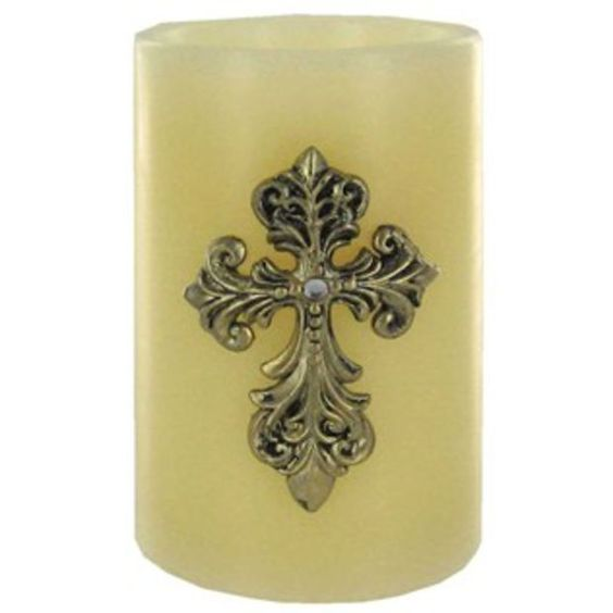 "4"" x 6"" Ivory LED Flameless Pillar Candle w/ Cross 