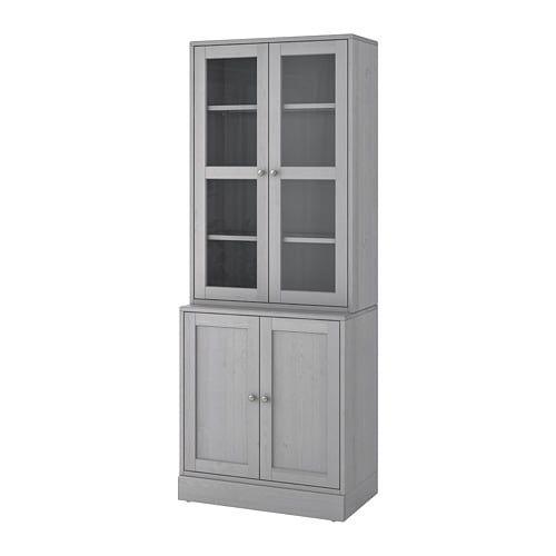 Havsta Storage Combination W Glass Doors Gray 31 7 8x18 1 2x83 1