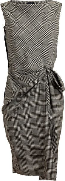 Checked Wool Dress - Lyst by LANVIN