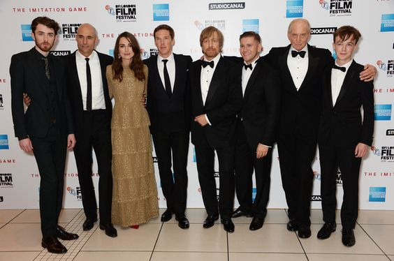 LONDON, ENGLAND - OCTOBER 08: (EMBARGOED FOR PUBLICATION IN UK TABLOID NEWSPAPERS UNTIL 48 HOURS AFTER CREATE DATE AND TIME. MANDATORY CREDIT PHOTO BY DAVE M. BENETT/WIREIMAGE REQUIRED) (L to R) Matthew Beard, Mark Strong, Keira Knightley, Benedict Cumberbatch, director Morten Tyldum, Allen Leech, Charles Dance and Alex Lawther attend the Opening Night Gala Screening of 'The Imitation Game' during the 58th London Film Festival at Odeon Leicester Square on October 8, 2014 in London, England…