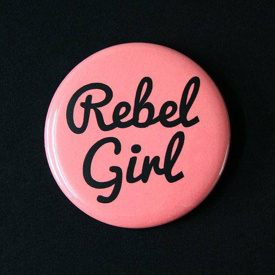 Rebel Girl Feminist Riot Grrrl Button Badge by CandyPunkCo on Etsy, $1.80