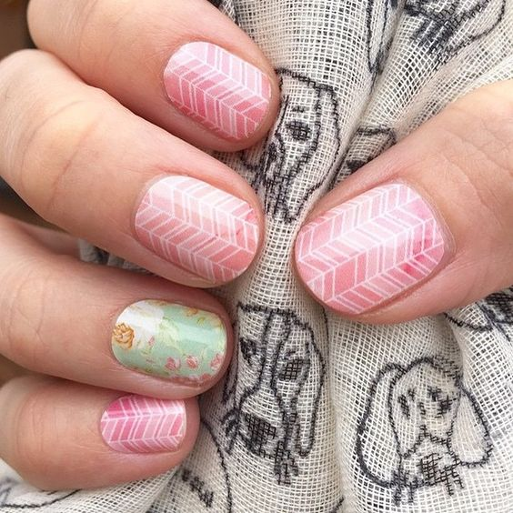 """""""This mani is SCREAMING spring! I love it! Who else is ready for warm weather!? Sorbet & Vintage Rose."""