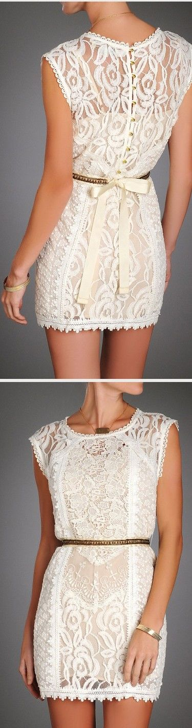 Champagne & Strawberries Lace Sheath Dress w/ Bead Belt. Wish list!