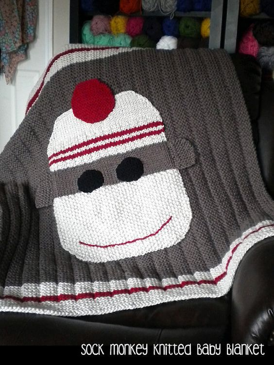 Knitting pattern for Sock Monkey Baby Blanket - #ad Designer says this is a s...