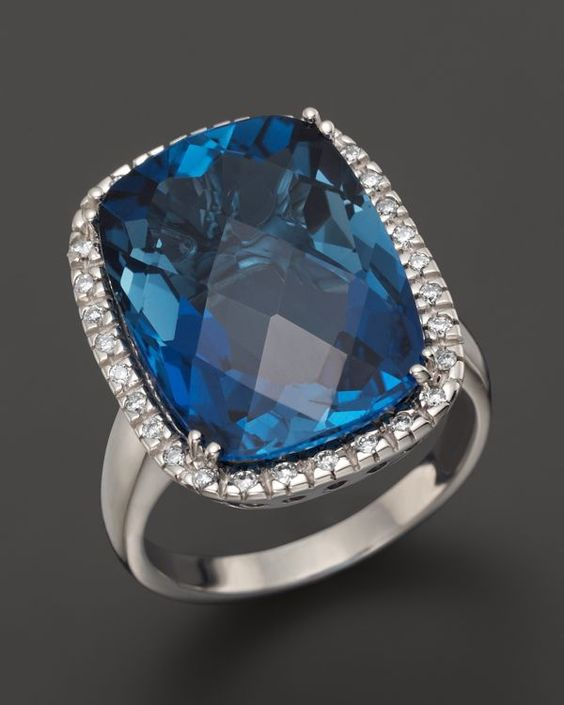 14K White Gold Diamond & London Blue Topaz Cushion Ring