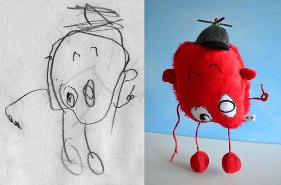 Quando um desenho vira realidade! No Canadá: Child's Own Studio por Wendy Tsao - No Brasil: Sabutuca por Anieli Cires :D: Kids Drawing, Child S Drawing, Children Drawing, Stuffed Toy, Stuffed Animal, Children S Drawing