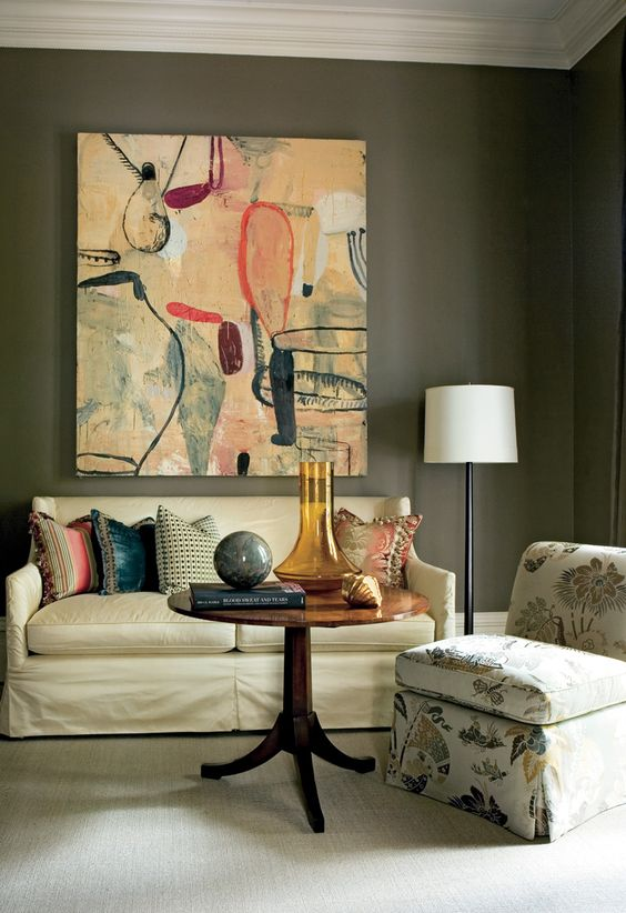 Traditional Contemporary Living Room Decor: Cream Lamps, Atlanta Homes And Brown Furniture On Pinterest