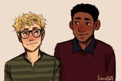 """Simon and Bram from """"Simon vs. The Homo Sapiens Agenda"""" by Becky Albertalli. Lovely art by linneart on Tumblr."""