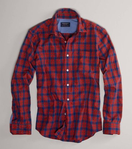 AE American Eagle Men's Athletic Fit Red Blue Plaid Button Down ...
