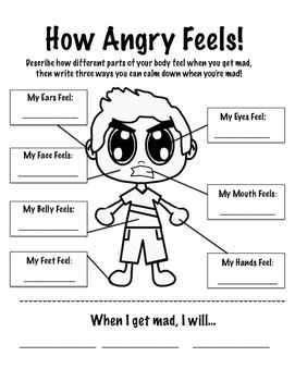 Worksheet to help students identify how their body feels when they get angry.:
