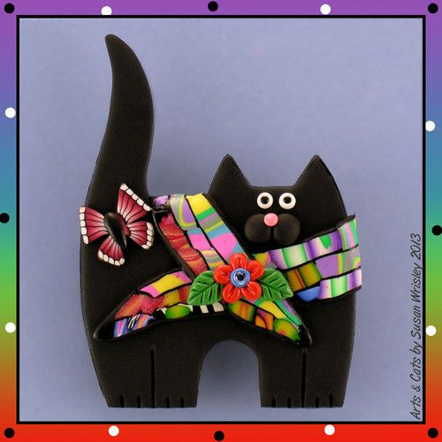 Standing Black Kitty Cat, Colorful Scarf & Butterfly Pin