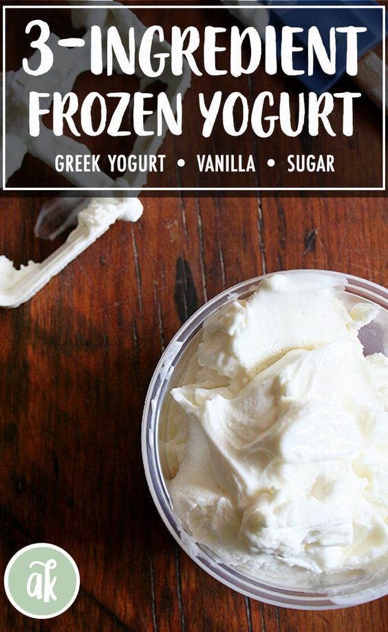 Real Frozen Yogurt — hooray! Made with only three ingredients — Greek yogurt, sugar and vanilla — the base for this frozen yogurt comes together in about one minute, and after an hour of chilling, it's ready to be churned There's nothing like homemade frozen yogurt on a hot summer day. So easy and fresh and delicious. #yogurt #frozen #real #diy #homemade #summer
