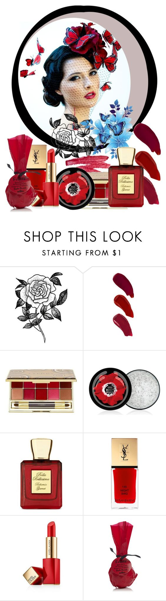 """Spring arrived on the wings of butterflies 2. #3."" by babysnail ❤ liked on Polyvore featuring beauty, Forever 21, Ellis Faas, Ilia, By Terry, The Body Shop, Bella Bellissima, Estée Lauder, red and YSL"