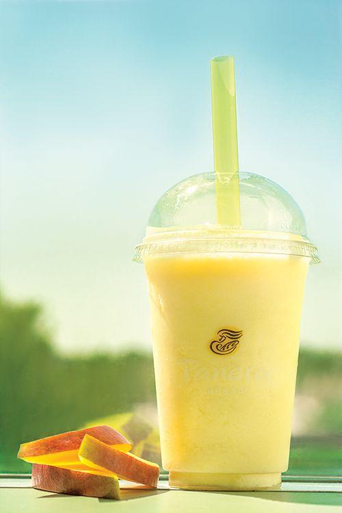COPY CAT RECIPE  Panera Bread Mango Smoothie (Made low fat!)  1/2 cup orange juice (I use 50 cal tropicana)  4 tbs nonfat greek yogurt 1 ripe banana chopped up (the more ripe, the sweeter) 1 handfull frozen mango chunks