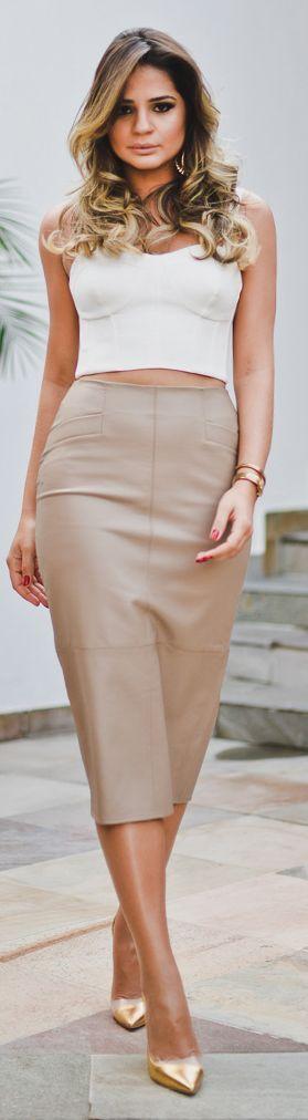 Iorane Beige Chic Leather Pencil Mid Calf Length Maxi Skirt | Nude ...