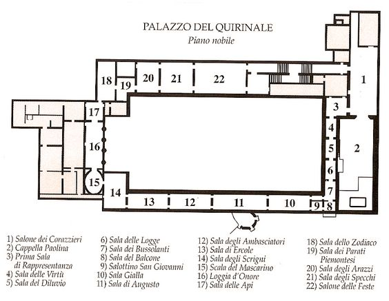 Piano Nobile First Floor Plan Palazzo Quirinale From