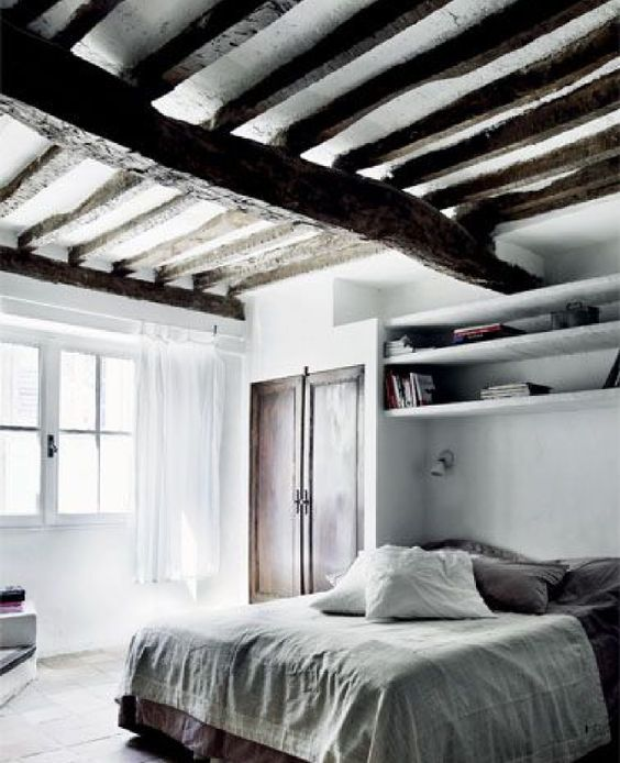 Chambres rustiques inspiration and d co on pinterest for Chambre poutre apparente