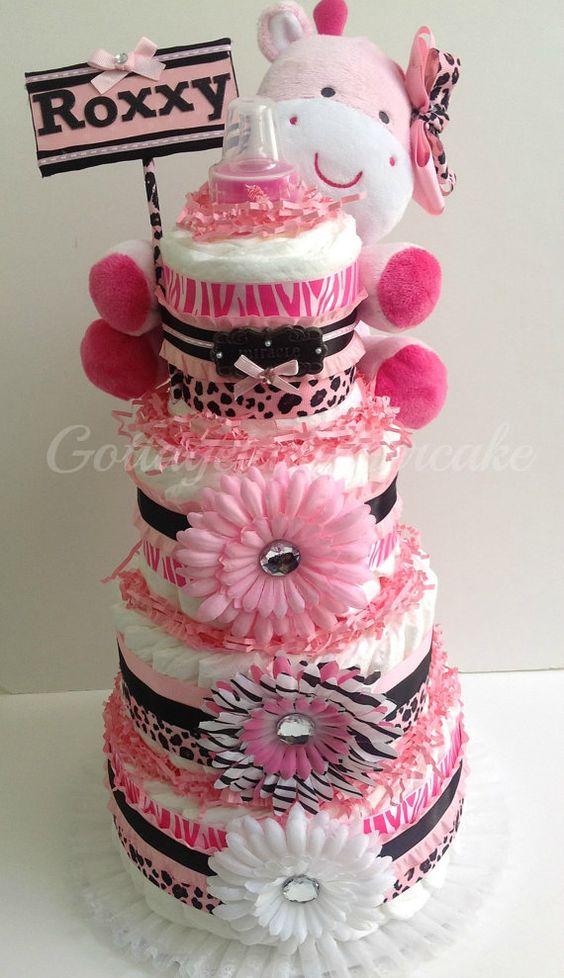 Items Similar To Pink Safari Diaper Cake, Cheetah Prints, Safari Theme,pink  And Black Diapercake, Centerpiece, Baby Shower, Girls Diaper Cakes, Nappy  Cakes, ...