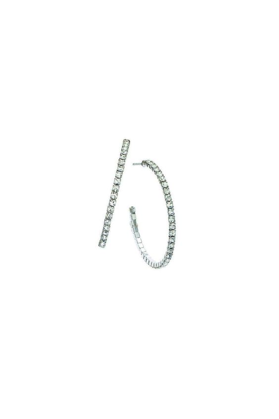 """Swarovski crystals make these silver tone hoop earrings sparkle! Post backs.    Diameter measures approximately 1 5/16"""".   Accented Silver Hoops by Gemma Collection. Accessories - Jewelry - Earrings - Hoops Dallas, Texas"""