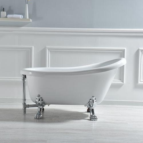 B 0021 54 Slipper Clawfoot Bathtub With Solid Brass Polished