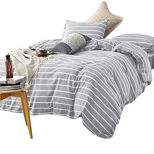 Hotel Luxury Grey Striped Bedding Duvet Cover Set Queen 3 Piece Washed Cotton Bedding Cover Set Lig Duvet Cover Sets Striped Bedding Luxury Bedding Collections
