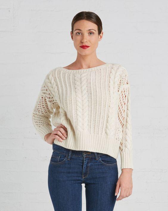 Ryan Roche Cashmere Fisherman Crop Sweater   Ivory