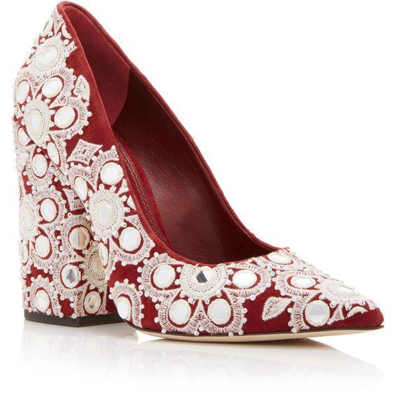 Tory Burch     Embroidered Suede Francesca Pump ($695) via Polyvore featuring shoes, pumps, suede shoes, beaded shoes, embroidered shoes, suede leather shoes and suede pumps