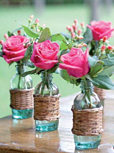 Brú e Fá no altar!: Decoração - Flores na garrafa: