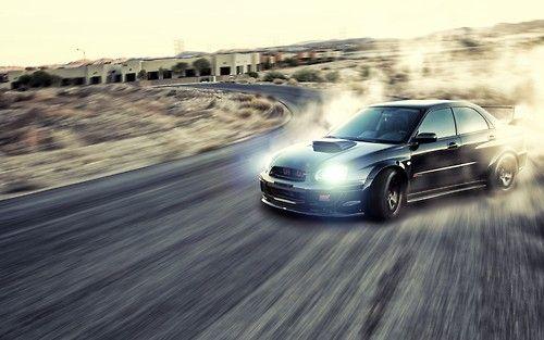 Blacked out Subaru Impreza WRX STi, awesome pic, Drift