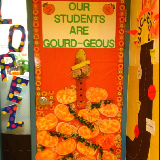 Fall Classroom Decoration : Fall festive classroom door with mosaic pumpkin crafts