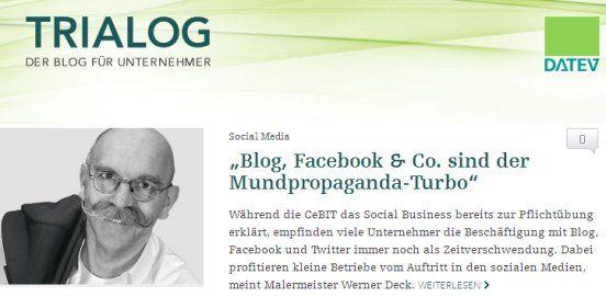 """Datev – Trialog: Der Blog für Unternehmer: """"Blog, Facebook & Co. sind der Mundpropaganda-Turbo"""""""