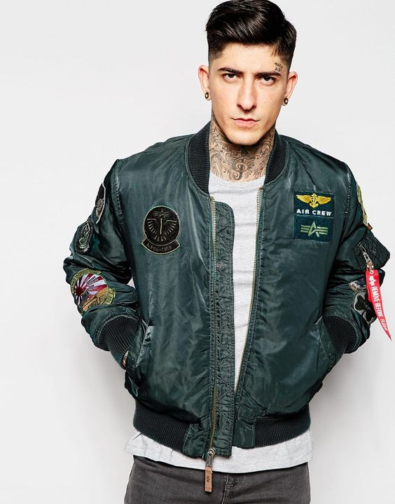 Image 1 of Alpha Industries Bomber Jacket with Patches: