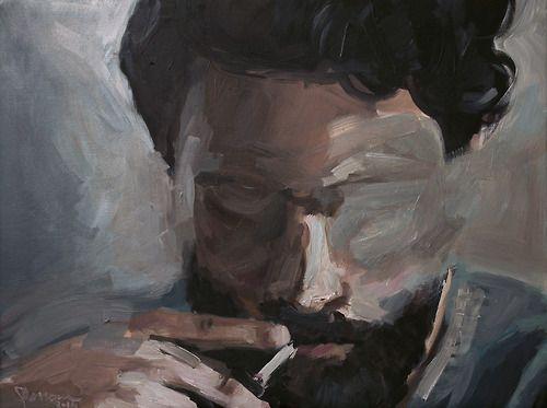 oil painting-man smoking