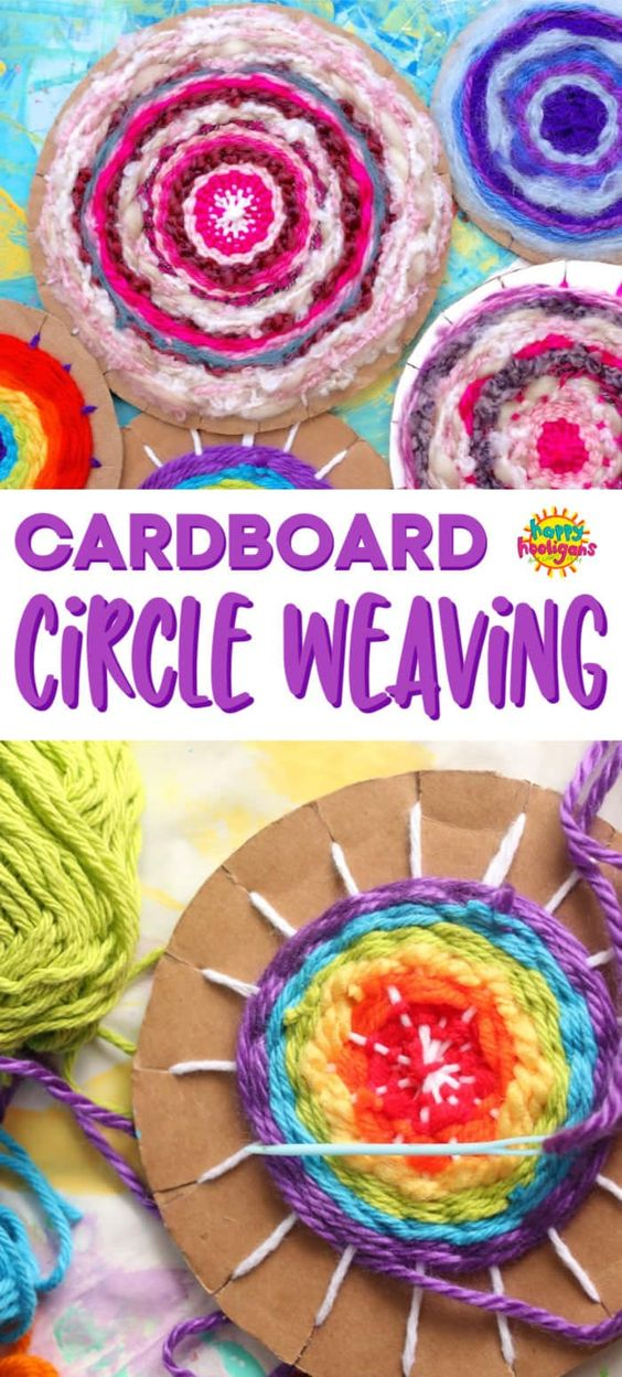 Learn how to make a circular cardboard weaving loom, how to weave on it, and how to take your project off the loom. Weaving is a fun and easy activity for kids, and they can make beautiful pot holders, trivets and wall art to keep or to give as gifts. #HappyHooligans #KidsCrafts #CraftsForKids #Weaving #Yarn #Crafts #Tweens #Daycare #CraftCamp #Kids #Art #FiberCrafts